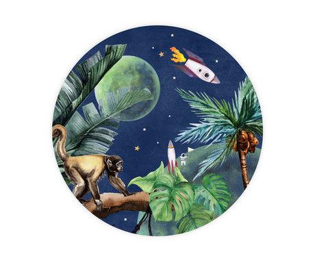 Creative Lab Amsterdam Behangcirkel From Jungle to Space multicolour vliesbehang ø142,5cm