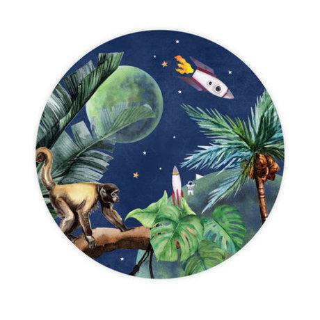 Creative Lab Amsterdam Behangcirkel From Jungle to Space multicolour vliesbehang ø145cm