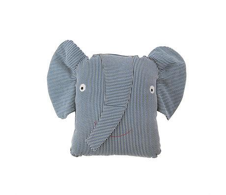OYOY Kussen Erik Elephant Denim Blauw Katoen 44x14x32cm