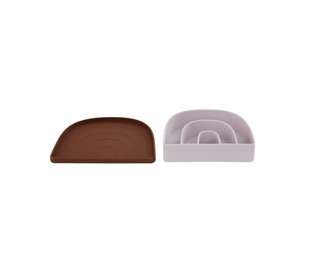 OYOY Lunchbox- Bord Rainbow Lila Bruin 3,3x17,5x14,5cm