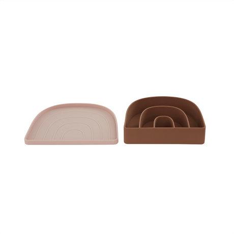 OYOY Lunchbox- Bord Rainbow Bruin Roze 3,3x17,5x14,5cm