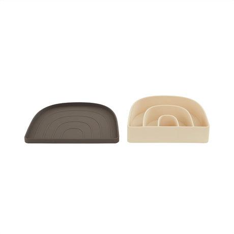 OYOY Lunchbox- Bord Rainbow Bruin Lichtgeel 3,3x17,5x14,5cm