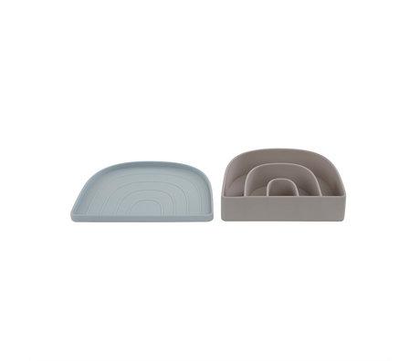 OYOY Lunchbox- Bord Rainbow Lichtgrijs Lichtblauw 3,3x17,5x14,5cm