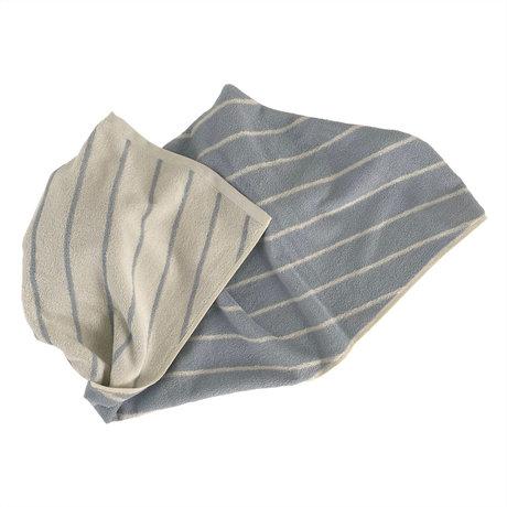 OYOY Handdoek Raita Creme Lichtblauw Katoen 140x70cm