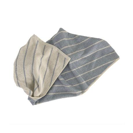 OYOY Handdoek Raita Creme Lichtblauw Katoen 100x50cm