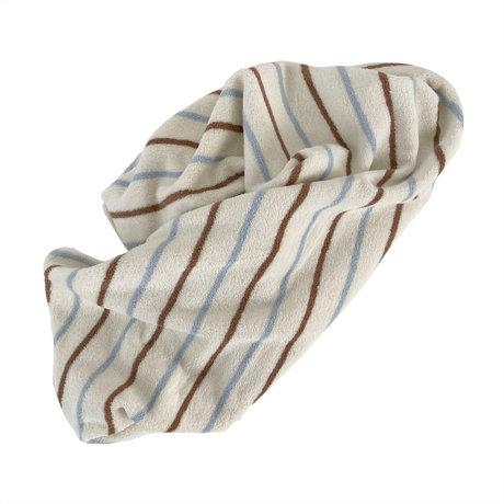 OYOY Handdoek Raita Large Bruin Lichtblauw Katoen 150x100cm