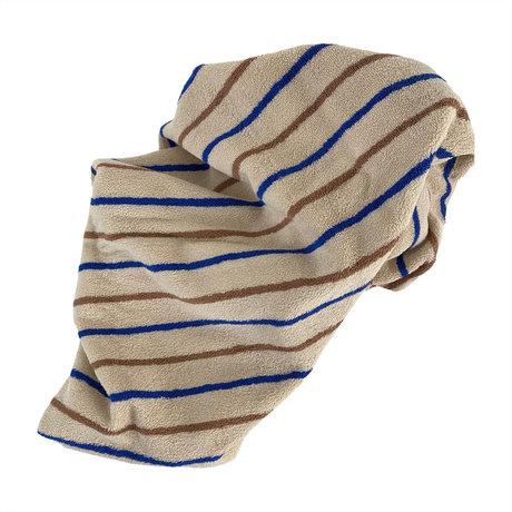 OYOY Handdoek Raita Large Bruin Blauw Katoen 150x100cm