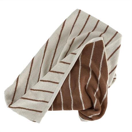 OYOY Handdoek Raita Medium Creme Bruin Katoen 140x70cm