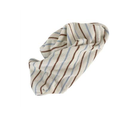 OYOY Handdoek Raita Medium Bruin Lichtblauw Katoen 140x70cm