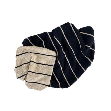 OYOY Handdoek Raita Medium Creme Zwart Katoen 140x70cm