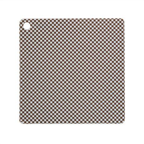 OYOY Placemat Checker Lichtblauw Bruin Siliconen 38x38cm set van 2