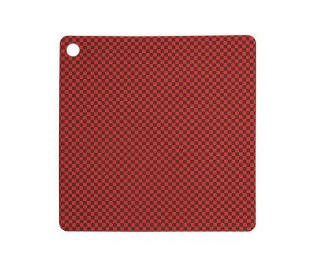OYOY Placemat Checker Rood Siliconen 38x38cm set van 2