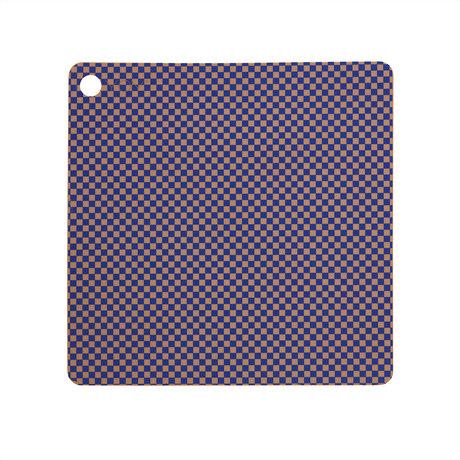 OYOY Placemat Checker Blauw Siliconen 38x38cm set van 2