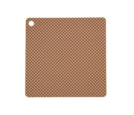 OYOY Placemat Checker Lichtbruin Siliconen 38x38cm set van 2