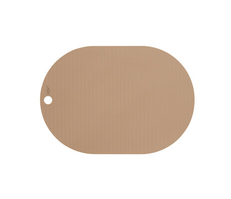 OYOY Placemat Ribbo Lichtbruin Siliconen 46x33cm set van 2