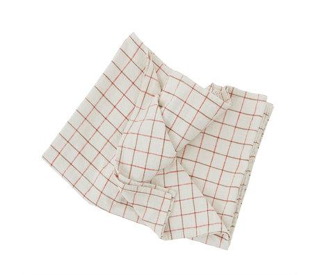 OYOY Tafelkleed Grid Wit Rood Katoen 260x140cm