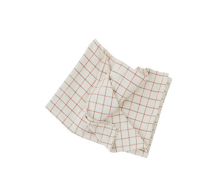 OYOY Tafelkleed Grid Wit Rood Katoen 200x140cm