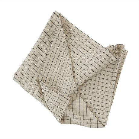 OYOY Tafelkleed Grid Creme Zwart Katoen 260x140cm