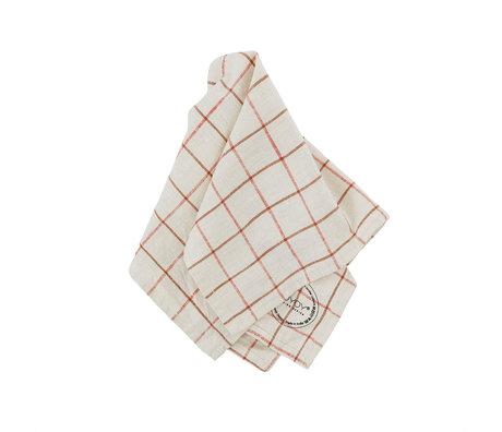 OYOY Servet Grid Wit Rood Katoen 45x45cm set van 2