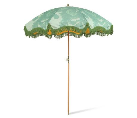 HK-living Parasol Floral Green Polyester Wood ø200x230cm