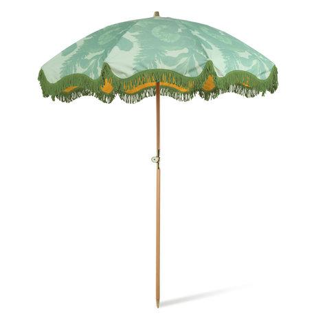 HK-living Parasol Floral Groen Polyester Hout ø200x230cm