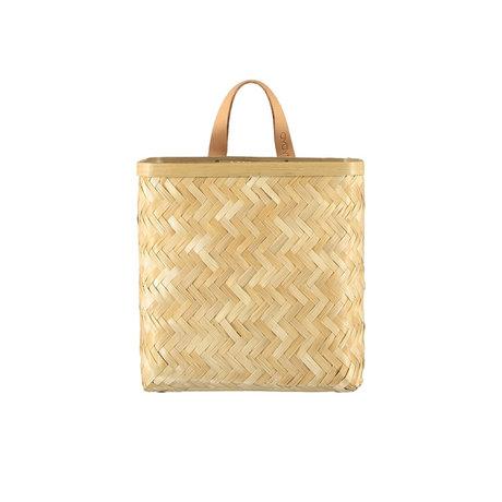 OYOY Wall basket Sporta naturel bruin bamboe 25x25x11cm
