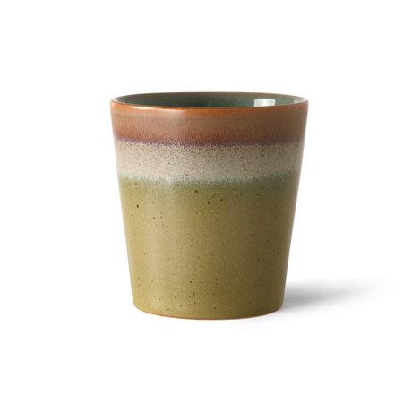 HK-living Koffiemok 70's Peat Multicolor ø7,5x8cm