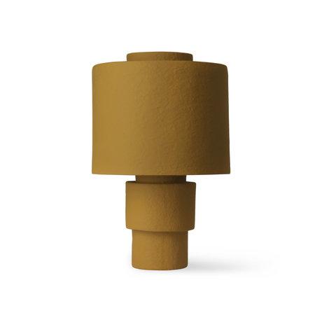 HK-living Tafellamp Gesso Mat Mosterdgeel Aardewerk ø33x51cm