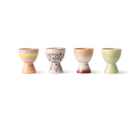 HK-living Eierdopjes 70's Multicolor Keramiek ø4,9x5,8cm set van 4
