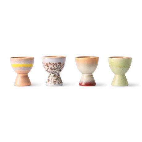 HK-living Eierdop 70's Multicolor Keramiek ø4,9x5,8cm set van 4