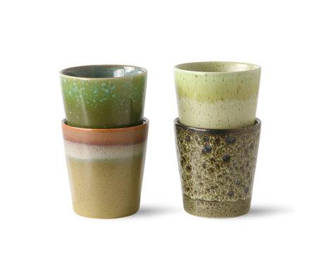 HK-living Koffiemok 70's Spring Greens Groen Keramiek ø7,5x8cm set van 4