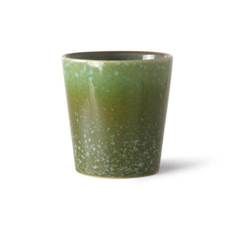 HK-living Koffiemok 70's Grass Groen Keramiek ø7,5x8cm