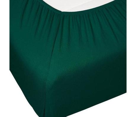 ESSENZA Hoeslaken Premium Jersey Fitted Sheet Donkergroen Katoen 140/160x200/220cm
