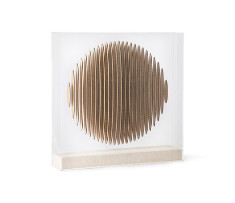 HK-living Kunstlijst Wooden Circle Bruin Acrylglas Hout 60x12x60cm