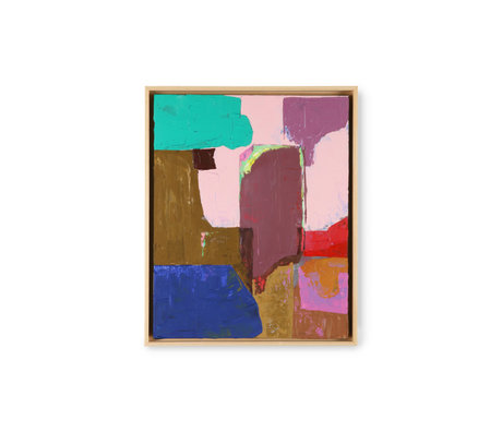 HK-living Kunstlijst Abstract Painting Multicolor Canvas Hout 43x4x53cm