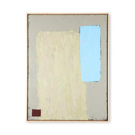 HK-living Kunstlijst Abstract Painting Groen Blauw Canvas Hout 63x4x83cm