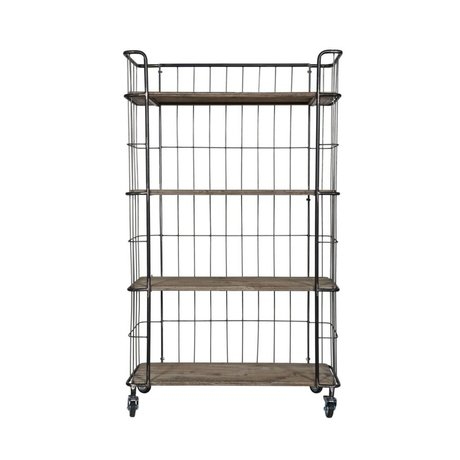BePureHome Trolley Giro large gray brown metal timber 158,5x94x41cm