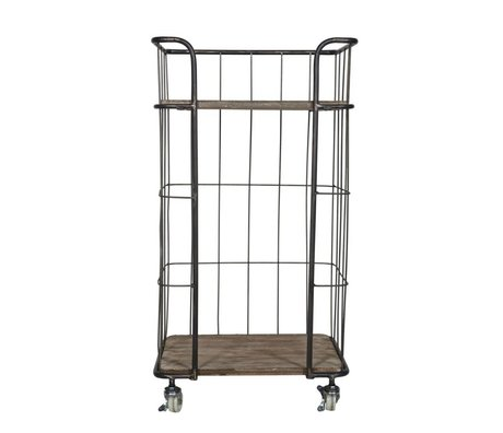 BePureHome Trolley Giro small gray brown metal timber 47,5x37,5x88,5cm