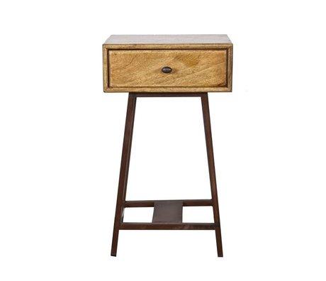 BePureHome Table d'appoint Skybox bois brun naturel 70x45x30cm métallique rustique