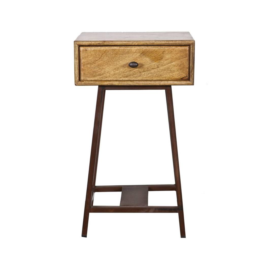 Side Table Met Lade.Bepurehome Side Table Skybox Natural Brown Wood Rustic Metal