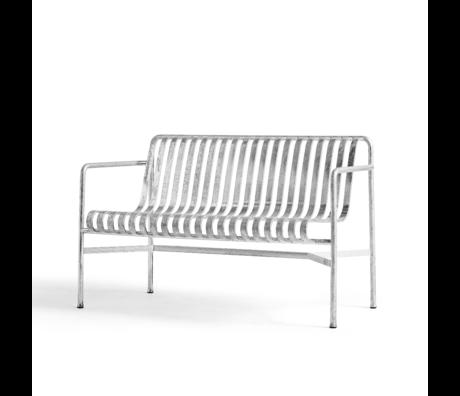 HAY Eetkamerbank Palissade Armleuning Zilver Verzinkt Staal 70x128x80cm