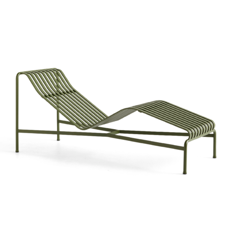 HAY Chaise Longue Palissade Groen Staal 164,5x65,5x70cm