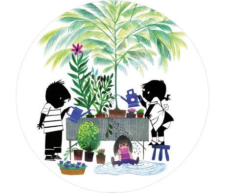 KEK Amsterdam Behangcirkel Jip en Janneke Gardening Multicolor Vliesbehang ø142,5cm