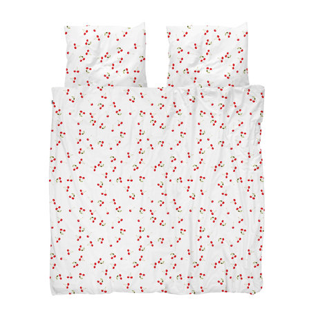 Snurk Beddengoed Dekbedovertrek Lits-jumeaux XL Cherries Wit Rood Katoen 260x200/220cm