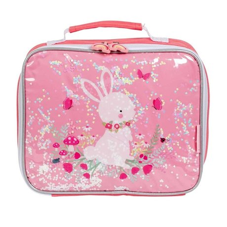 A Little Lovely Company Cool bag glitter rabbit pink textile 27x8x23cm