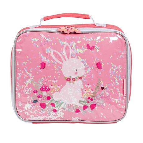 A Little Lovely Company Koeltasje glitter konijn roze textiel 27x8x23cm