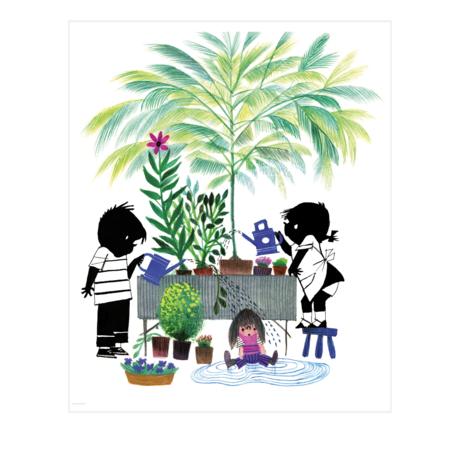 KEK Amsterdam Behangpaneel Jip en Janneke Gardening Multicolour Vliesbehang 142,5x180cm