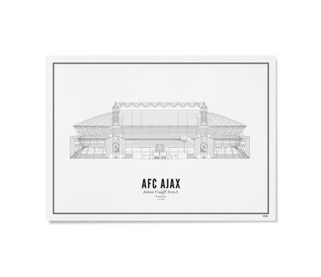 Poster Ajax Zwart Wit Papier 50x70cm