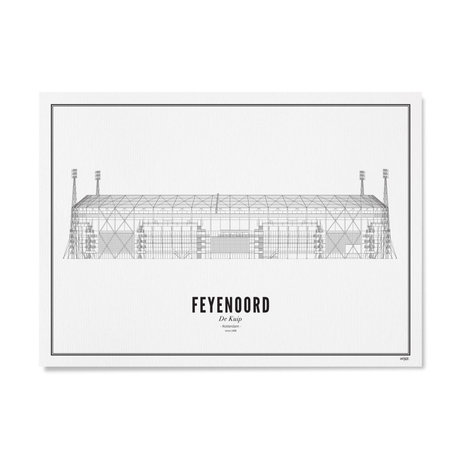 Poster Feyenoord Zwart Wit Papier 50x70cm