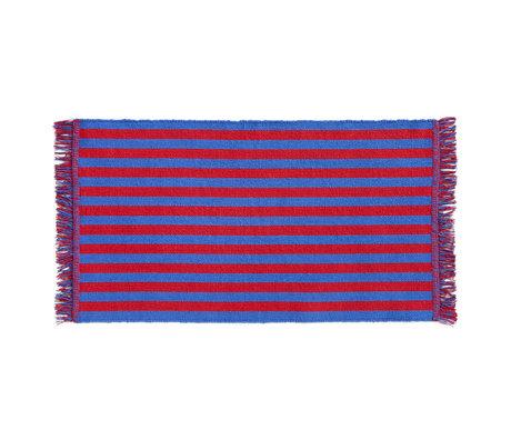 HAY Deurmat Stripes And Stripes Small Rood Blauw Katoen 95x52cm